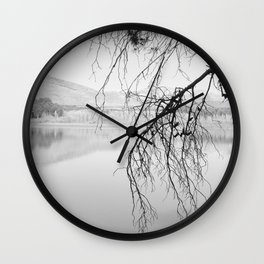 Magic Trees. Foggy Sunrise At The Lake. BW Wall Clock