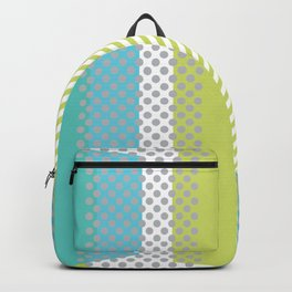 Retro Panels Circles Rectangles Lines Blue Neon Green Backpack