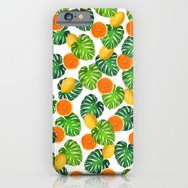 Oranges Lemons Monstera White iPhone Case