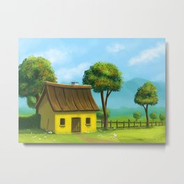 Peaceful yellow house Metal Print