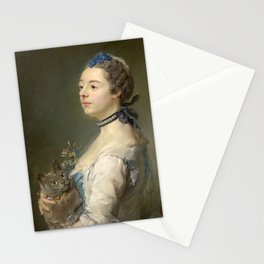 Woman and cat Painting by Jean-Baptiste Perronneau Stationery Cards