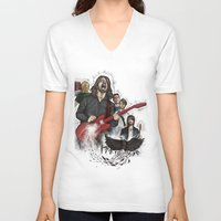 foo fighters V-neck T-shirts featuring Foo Fighting by Jaimie