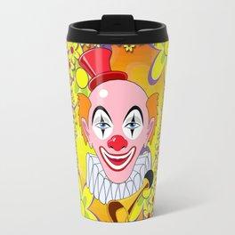 Happy Circus Clown in Abstract Flower Garden Print Travel Mug