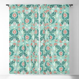 Floral Folk Pattern Blackout Curtain