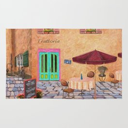 Trattoria Square – Italy – Painting by Liane Wright Rug