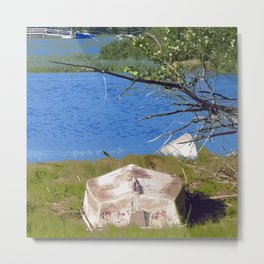 Painterly Photo Illustration Small Boat in Grass Under Summer Sun, Cape Cod Metal Print