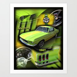 1967 Mustang Lime Green Art Print