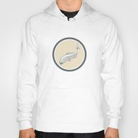 trout Hoodies featuring Trout Swimming Cartoon Circle by patrimonio