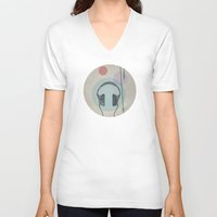headphones V-neck T-shirts featuring headphones by avoid peril
