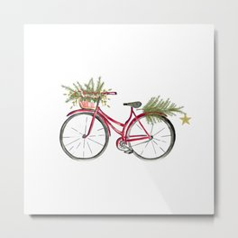 Red Christmas bicycle Metal Print