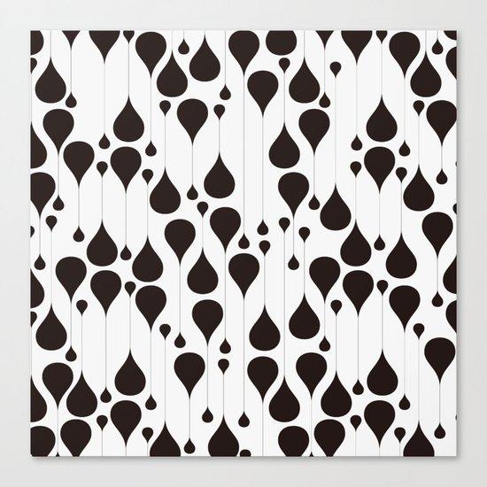 Monochrome waterdrops pattern. Canvas Print