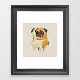 Pug Hugs Watercolor Framed Art Print