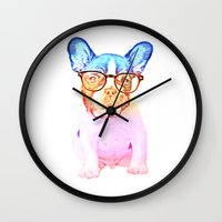 mike wrobel Wall Clocks featuring Mike by Babaganoosh