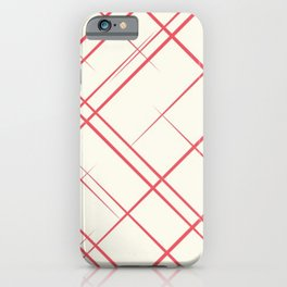 Red Stripes Grid Pattern iPhone Case