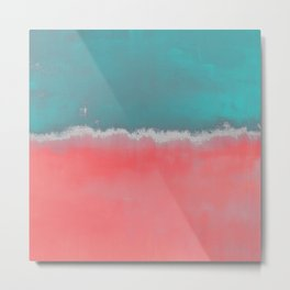 Coral and Teal Abstract 155 Metal Print