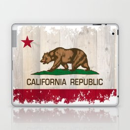California Republic state Bear flag on wood Laptop & iPad Skin
