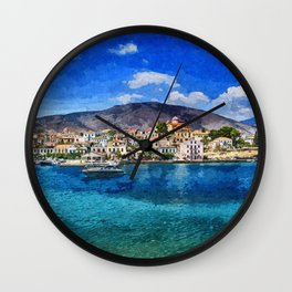 Boat on the sea of Greece Wall Clock