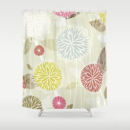 Abstract Floral Beige by Friztin Shower Curtain