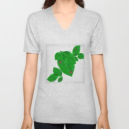 Green leaves with ladybirds and waterdrops Unisex V-Neck