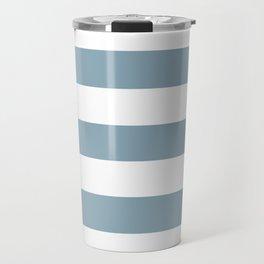 Pewter Blue - solid color - white stripes pattern Travel Mug