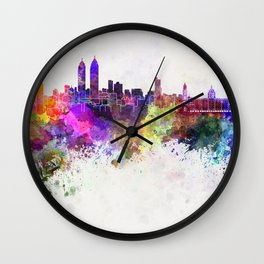 Mumbai skyline in watercolor background Wall Clock