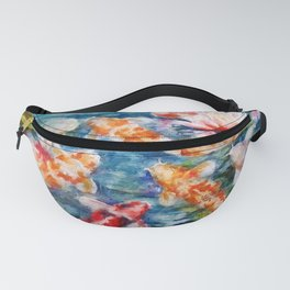 Colorful Koi and water lilies in the Summer Koi Pond portrait painting Fanny Pack