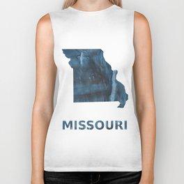 Missouri map outline Dark Gray Blue clouded watercolor pattern Biker Tank