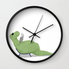 T-Rex by the pool Wall Clock