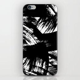 Black hand painted watercolor brushstrokes pattern iPhone Skin