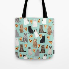 Cats with Pizza slices cheesy food funny cat lover gifts by pet friendly pet portraits Tote Bag