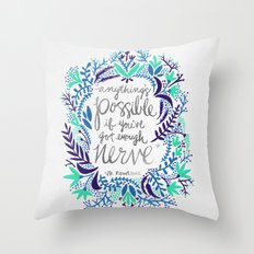 Anything's Possible – Silver & Blue Throw Pillow
