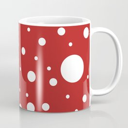 Mixed Polka Dots - White on Firebrick Red Coffee Mug