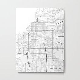 Anchorage Map, Alaska USA - Black & White Portrait Metal Print