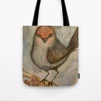 luigi Tote Bags featuring Luigi bird by Sam Wallis Illustration