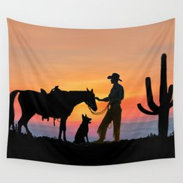 The Cowboy and his Companions Wall Tapestry