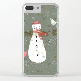 Cute Christmas Snowman & Birds Winter Scene Clear iPhone Case