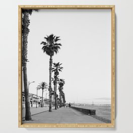 Playa de Valencia | Black and white photograph of the boulevard & beach | travel art Serving Tray