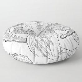 Alphonse Mucha-Dance-Reinterpreted-Art Nouveau Floor Pillow