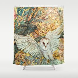 The Playground _ Raven, Owl, Chickadee Shower Curtain