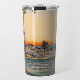 Vintage Mount Fuji Japan Woodblock Travel Mug