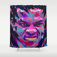 nba Shower Curtains featuring RUSSELL WESTBROOK: NBA ILLUSTRATION V2 by mergedvisible