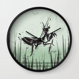 Praying Mantis by Kathy Morton Stanion Wall Clock