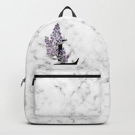 Letter 'L' Lilac Flower Monogram Typography Backpack