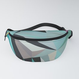 Azure bird in a frame of scattered purple triangles. Fanny Pack