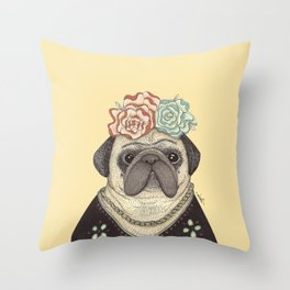 Frida Pug Kahlo Throw Pillow