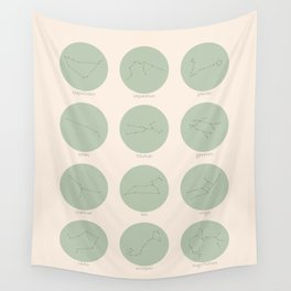 Zodiac Constellations - Sage Green Wall Tapestry
