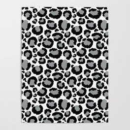 White Black & Light Gray Leopard Print Poster