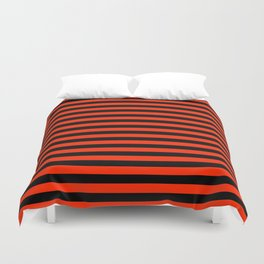 Bright Red and Black Horizontal Stripes Duvet Cover