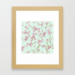 Spring Flowers - Mint and Pink Cherry Blossom Pattern Framed Art Print