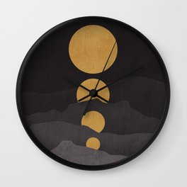 Rise of the golden moon Wall Clock